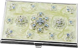 Visol Products Meridian Light Green Lacquer with Blue Crystals Womens Business Card Holder