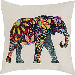 Varaluz Casa 419A01 Elephant Square Throw Pillow - Multicolored Macro-Floral