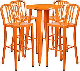 Flash Furniture 24 Round Orange Metal Indoor-Outdoor Bar Table Set with 4 Vertical Slat Back Stools