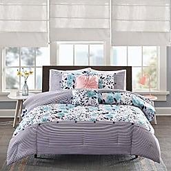 INTELLIGENT DESIGN Delle Comforter Set Twin/Twin Xl Size - Blue, Floral Stripes - 4 Piece Bed Sets - Ultra Soft Microfiber Teen Bedding For Girls Bedroom
