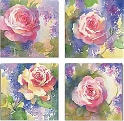 WEXFORD HOME Margots Rose Flower Spring Collection Canvas Print 4 Panels Set Décor for Home Office Wall Art 24X24 Frameless