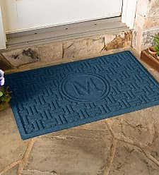 Bungalow Flooring Waterhog Basket Weave Doormat with Single Initial, 2 x 3