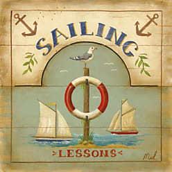 Buyartforless Buyartforless Sailing Lessons by Mid Gordon 12 x 12 Art Poster Print Seagull Lifesaver Sail Boats Anchors Wooden Sign