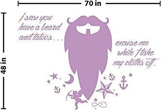 The Decal Guru Beard Funny Quote Wall Decal (Lilac, 48 (H) X 70 (W))
