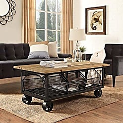 ModWay Modway Fairground Industrial Farmhouse Pine Wood and Steel Coffee Table on Metal Casters in Brown