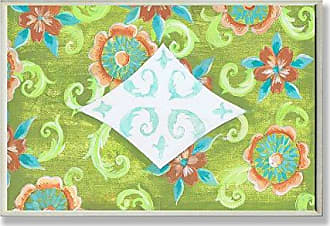 The Stupell Home Décor Collection The Stupell Home Decor Collection Green Aqua and Orange Floral Bath Plaque