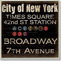 The Stupell Home Décor Collection Stupell Home Décor City Of New York Subway Stops Square Wall Plaque, 12 x 0.5 x 12, Proudly Made in USA