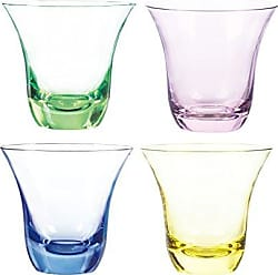 Qualia Glass Aurora Double Old Fashioned Glasses, 11-Ounce, Emerald/Pink/Amber/Blue, Set of 4