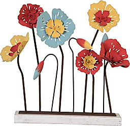 Foreside Home And Garden Foreside Home & Garden Funky Flowers Figurine, White, Black, Blue, Red