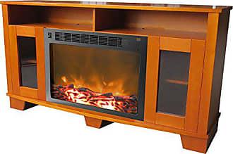 Cambridge Silversmiths Savona Fireplace Mantel with Electronic Fireplace Insert, Teak