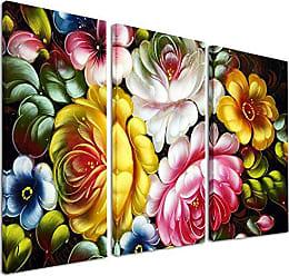 DESIGN ART Designart Digital Flower Bouquet-Floral Canvas Art Print-36x28in-Multipanel 3 Piece, 36x28-3 Panels, Yellow