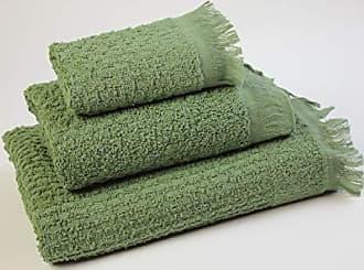 Flor de Algod/ón Dimensione Unica. Verde Acqua Set di 3 Asciugamani Panama 400/g