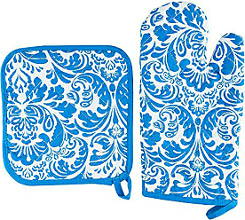 Trademark Global Oven Mitt And Pot Holder Set, Quilted And Flame And Heat Resistant By Lavish Home (Blue)