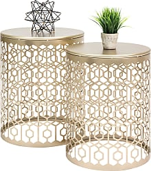 Best Choice Products Set of 2 Decorative Round Side Accent Table Nightstands - Gold