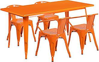 Flash Furniture 31.5 x 63 Rectangular Orange Metal Indoor-Outdoor Table Set with 4 Arm Chairs