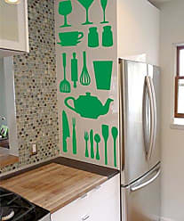 The Decal Guru Kitchen Cooking Utensil Vinyl Decal Stickers - DIY Removable Decor - Spatulas Plates Cups Bowls Wisks Set (Light Green, 51x40 inches)