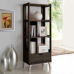 Baxton Studio Kalien Leaning Bookcase - BC-001-ESPRESSO