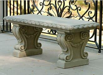 Campania International Outdoor Campania International Longwood Main Fountain Garden Cast Stone Backless Garden Bench Aged Limestone - BE-33-AL