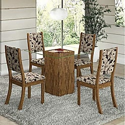 Viero Conjunto para Sala de Jantar Mesa e 4 Cadeiras Viero Via Avelã/Medina