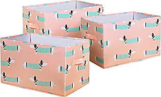 Triangle Home Fashions Lush Decor Sausage Dog Fabric Covered 3 Piece Collapsible Storage Box Set, 15 x 13 x 13, Pink