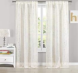 Duck River Textile Lala + Bash Molly Metallic Rod Top Window Curtain 2 Panel Drape Set, 37 x 84, White/Gold