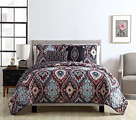 VCNY Home VCNY Home Coria 5 Piece Reversible Ogee Quilt Set, King, Burgundy