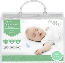 Évolur Full Size Crib Tencel Waterproof Mattress Protector and Fitted Sheet, White (2 Pack)