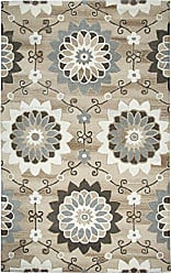 Rizzy Home Suffolk Collection Wool Beige/Brown Floral Area Rug 10 x 13