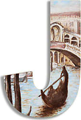 The Stupell Home Décor Collection Stupell Home Décor Venice Scene 18 Inch Hanging Wooden Initial, 12 x 0.5 x 18, Proudly Made in USA