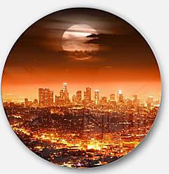 DESIGN ART Designart Dramatic Full Moon Over Los Angeles-Cityscape Large Metal Wall Art - Disc of 11 11 H x 11 W x 1 D 1P Red/Orange