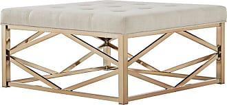 Weston Home Libby Tufted Coffee Table Ottoman with Geometric Base Dark Gray - 68E662BS-4M3[OT]DGLC3