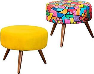 Nay Multicoisas Kit 02 Puffs Decorativo Angel Suede Amarelo-Romero Brito
