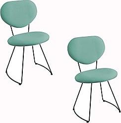 Daf Mobiliário Kit 2 Cadeira Milão Meia Lua Linho Turquesa - Daf Mobiliário