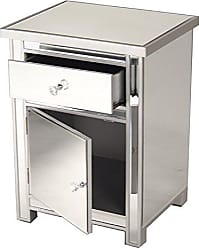 Heather Ann Creations Petite Accent Cabinet with Beveled Trim and Mirror Finish, 25.25 x 20, Silver