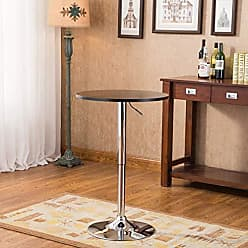 Round Hill Furniture Adjustable Height Wood and Chrome Metal Bar Table, Black