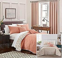Chic Home Anat 5 Piece Quilt Set, King, Orange