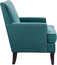 Madison Park Colton Accent Chairs - Hardwood, Birch, Faux Velvet Living Room Chairs - Blue, Teal, Modern Classic Style Living Room Sofa Furniture - 1 Piece Track Arm Club Chair Bedroom Chairs Seats