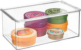 InterDesign Clarity Plastic Storage Box with Lid, Organizer Container for Vanity, Bathroom, Kitchen, Bedroom, 12.75 x 7.25 x 5, Clear