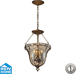 Elk Lighting Cheltham 3 Light Pendant In Mocha Includes An Adapter Kit To Allow For Easy Conversion Of A Reces