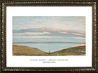 Buyartforless Framed Broad Landscape by Claude Monet 24x36 Art Print Poster Famous Painting Ocean Field Landscape Seaside from Museum of Fine Arts Boston Collection