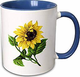 3D Rose mug_60502_6Giant Vintage Sunflower Two Tone Blue Mug, 11 oz, Multicolor