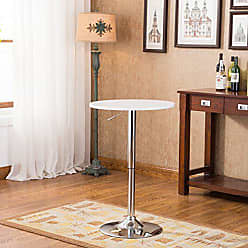 Round Hill Furniture Adjustable Height Wood and Chrome Metal Bar Table, White