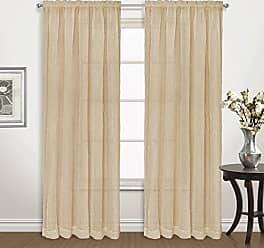 United Curtain Venice Crushed Voile Window Panel Pair, 100 by 72, Gold, 100 X 72
