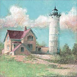EAZL Vintage Lighthouse on Hill Sunny Day Colorful Coastal Distressed Painting Blue & Green Canvas Art by Pied Piper Creative