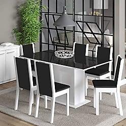 Madesa Conjunto Sala de Jantar Mesa Tampo em Vidro 6 Cadeiras Anis Madesa Branco/Preto