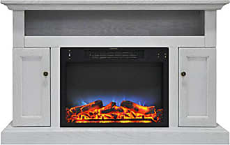 Cambridge Silversmiths CAM5021-2WHTLED Sorrento Electric Fireplace with Multi-Color LED Insert and 47 In. Entertainment Stand in White
