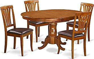 East West Furniture POAV5-SBR-LC 5 Piece Set Portland Dining Table Featuring 18 Leaf and Four Upholstered Seat Chairs in Saddle Brown