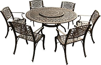 Oakland Living Outdoor Oakland Living Ornate Mesh Lattice Aluminum 7 Piece Dining Set with Ornate Mesh Lazy Susan, Patio Furniture - 2555-2777(6)-BZ