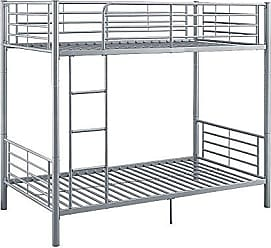 Walker Edison WE Furniture AZTOTSL Twin Bunk Bed, Silver