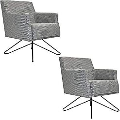 Gran Belo Decor Kit 2 Poltronas Decorativa Nagoya Base Orby Jacar Preto - Gran Belo Decor